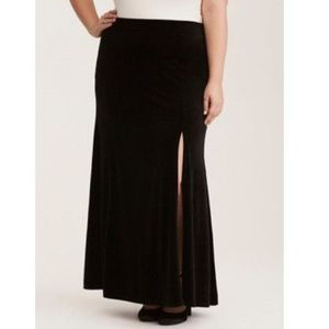 Torrid Black Velour/ Crushed Velvet Maxi Skirt